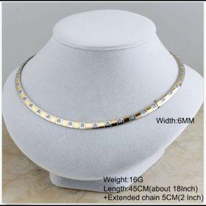 Stainless steel gold collar choker bib necklace